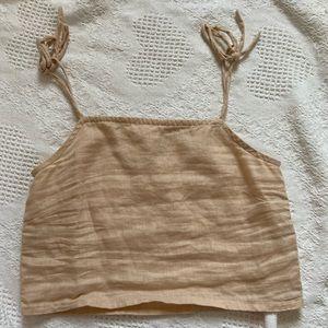 Cropped Linen Tie Strap Tank Top